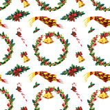 Fondo inconsútil de la Navidad de la acuarela con acebo Foto de archivo libre de regalías