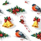 Fondo inconsútil de la Navidad de la acuarela con acebo Imágenes de archivo libres de regalías
