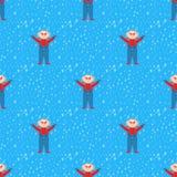 Fondo inconsútil de la Navidad del papel de embalaje de diciembre del niño del modelo del invierno tradicional del tiempo del vec stock de ilustración