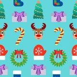 Fondo inconsútil de la Navidad Diseño plano Fotos de archivo