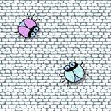 Fondo inconsútil de la pared de ladrillo con los bolsos brillantes brillantes divertidos stock de ilustración
