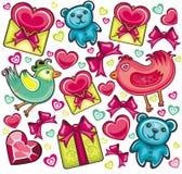 Fondo inconsútil de la tarjeta del día de San Valentín Fotos de archivo