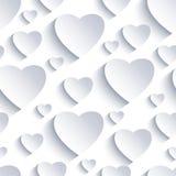 Fondo inconsútil de la tarjeta del día de San Valentín con los corazones blanco-grises 3d Fotografía de archivo