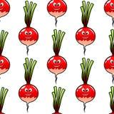 Fondo inconsútil de la verdura del rábano de la historieta Imagen de archivo
