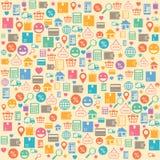 Fondo inconsútil de las compras en línea del comercio electrónico stock de ilustración