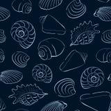 Fondo inconsútil de las conchas marinas Fotos de archivo libres de regalías