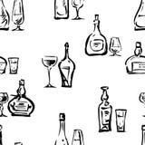 Fondo inconsútil de las copas de vino y de las botellas Fotografía de archivo