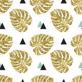 Fondo inconsútil de las hojas de palma de oro tropicales Foto de archivo