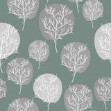 Fondo inconsútil de los árboles abstractos grises Flora del modelo del vector r Fotos de archivo