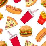 Fondo inconsútil de los alimentos de preparación rápida Alimentos de preparación rápida Ilustración del vector Foto de archivo