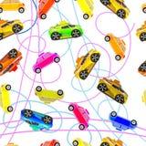 Fondo inconsútil de los coches del ` s de los niños Fotografía de archivo