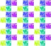 Fondo inconsútil de los cuadrados de los corazones de la mariposa stock de ilustración