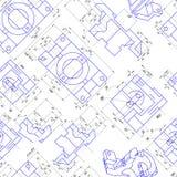 Fondo inconsútil de los dibujos de ingeniería de piezas Vector Fotografía de archivo libre de regalías