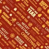 Fondo inconsútil de los elementos de la estación de la Navidad Imágenes de archivo libres de regalías