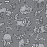 Fondo inconsútil de los gatos del Doodle Imagenes de archivo