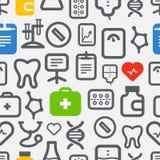 Fondo inconsútil de los iconos de la atención sanitaria Fotos de archivo