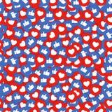Fondo inconsútil de los iconos del gusto y del corazón Los pulgares para arriba y los botones rojos del corazón fluyen para la ch libre illustration