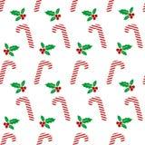 Fondo inconsútil de los iconos de la Navidad con la baya del acebo Papel pintado feliz de las vacaciones de invierno con los elem libre illustration
