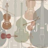 Fondo inconsútil de los instrumentos de música stock de ilustración