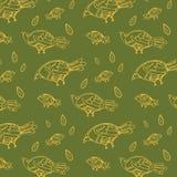 Fondo inconsútil de los pájaros de la raspa de arenque del vectorNon verde inconsútil del modelo, línea estilo fina, diseño plano Fotografía de archivo libre de regalías