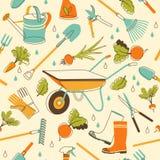 Fondo inconsútil de los utensilios de jardinería en estilo del garabato Imagen de archivo libre de regalías