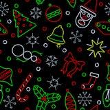 Fondo inconsútil de Navidad del neón Fotos de archivo libres de regalías