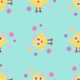 Fondo inconsútil de Pascua del polluelo de Pascua de la textura del vector Fotos de archivo libres de regalías