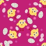 Fondo inconsútil de Pascua del polluelo de Pascua de la textura del vector Imagen de archivo libre de regalías