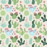 Fondo inconsútil, de Tileable del vector con el cactus y Succulents
