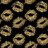 Fondo inconsútil del brillo del beso del lápiz labial Textura de las partículas del oro, efecto brillante del encanto Imagenes de archivo
