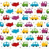 Fondo inconsútil del coche y del plano del juguete Imágenes de archivo libres de regalías