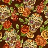 Fondo inconsútil del cráneo, del diamante y de las flores Imagen de archivo libre de regalías