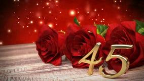 Fondo inconsútil del cumpleaños del lazo con las rosas rojas en el escritorio de madera fortyfifth cumpleaños 45.o 3d rinden