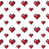 Fondo inconsútil del día de tarjeta del día de San Valentín de los corazones del pixel Foto de archivo libre de regalías