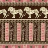 Fondo inconsútil del estilo africano con los leones Imágenes de archivo libres de regalías
