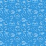Fondo inconsútil del garabato de la Navidad Envolver-papel azul Vector Imagen de archivo