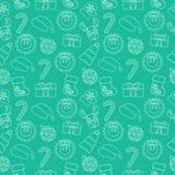 Fondo inconsútil del garabato de la Navidad Envolver-papel verde Vector Imagen de archivo libre de regalías