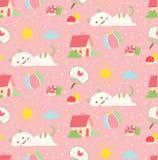 Fondo inconsútil del gato lindo en vector del estilo del kawaii stock de ilustración