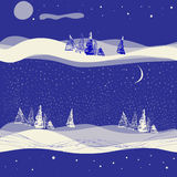 Fondo inconsútil del invierno con la luna Foto de archivo libre de regalías