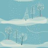 Fondo inconsútil del invierno con los árboles Imágenes de archivo libres de regalías