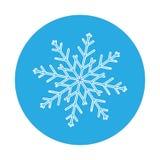 Fondo inconsútil del invierno con un copo de nieve blanco plano en un azul Fotografía de archivo libre de regalías