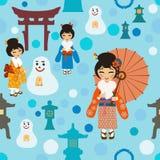 Fondo inconsútil del invierno en Japón Fotografía de archivo libre de regalías