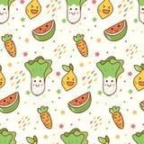 Fondo inconsútil del kawaii de las frutas y verduras de la historieta stock de ilustración