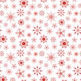 Fondo inconsútil del modelo con el substrato rojo de los copos de nieve Fotografía de archivo libre de regalías