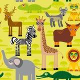 Fondo inconsútil del modelo con los animales africanos Foto de archivo