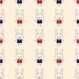 Fondo inconsútil del modelo del conejo lindo Vector la plantilla linda plana de los lunares, ejemplo mínimo simple desig de la te stock de ilustración