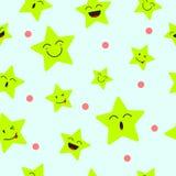 Fondo inconsútil del modelo de Emoji de la estrella linda Imagen de archivo