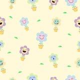 Fondo inconsútil del modelo de Emoji de la flor en colores pastel linda Imágenes de archivo libres de regalías