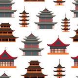 Fondo inconsútil del modelo de la casa asiática tradicional de la historieta Vector libre illustration