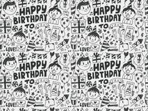 Fondo inconsútil del modelo de la fiesta de cumpleaños del garabato Imagen de archivo